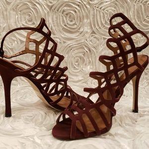 Steve Madden Slithur Burgundy Suede Caged Heels 6M